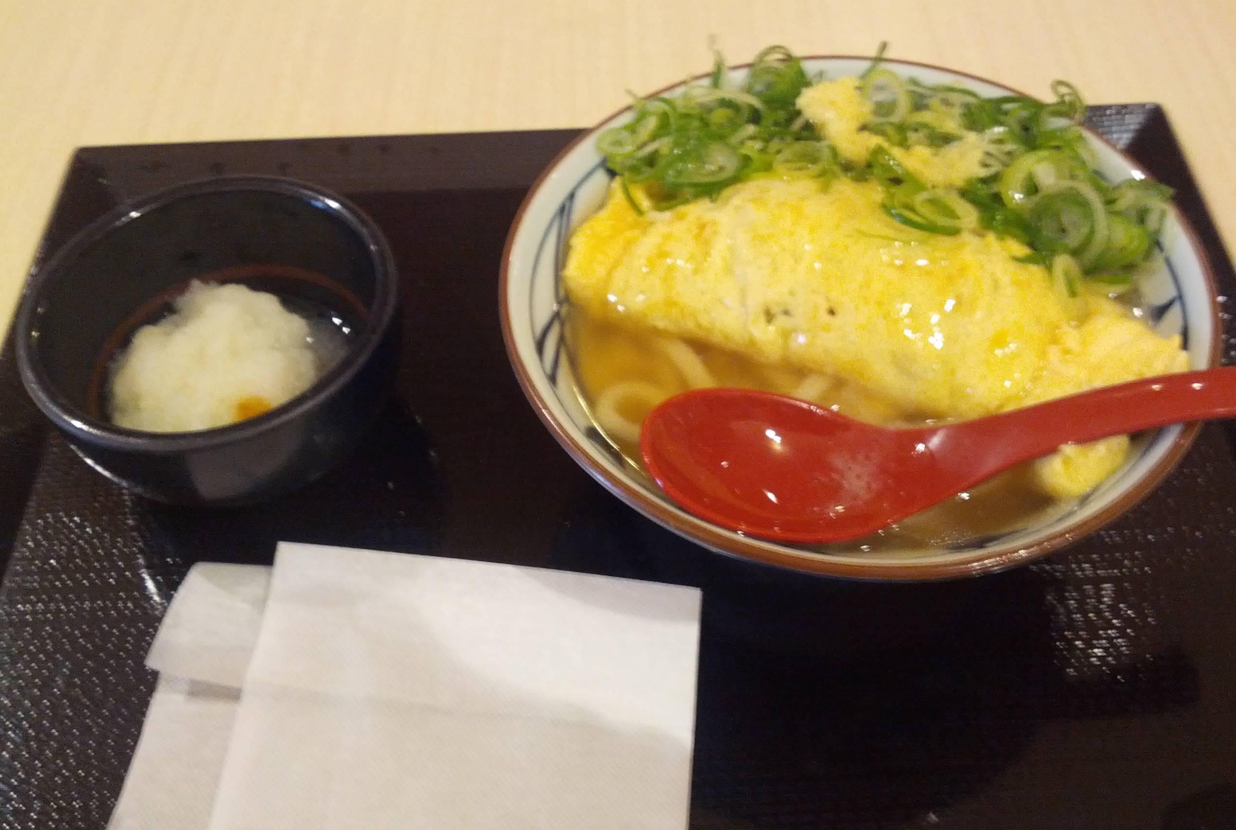 丸亀製麺、だし玉肉うどん実物食べる前