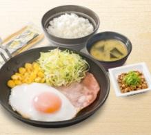 吉野家朝食2018年「ハムエッグ納豆定食」