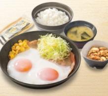 吉野家朝食2018年「Wハムエッグ牛小鉢定食」