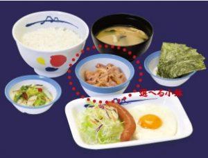 松屋の朝食「ソーセージエッグ定食」