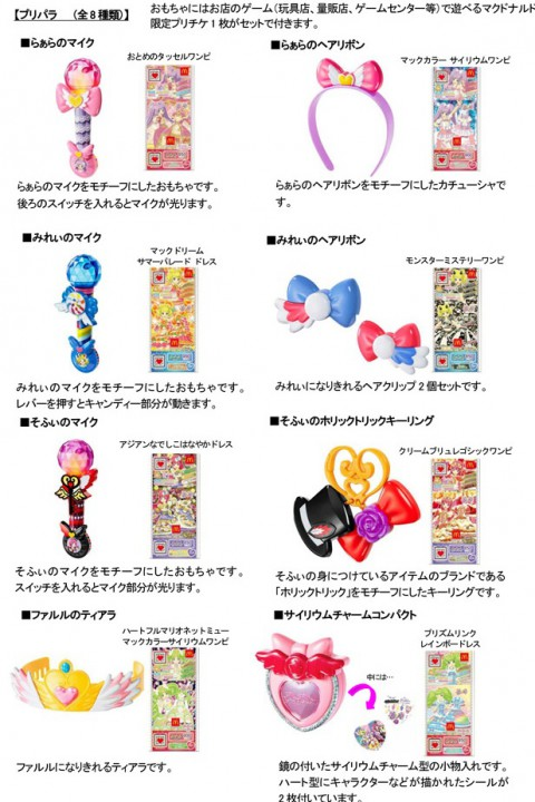 ハッピーセット、プリパラ8種類のおもちゃ画像2016年2月19日