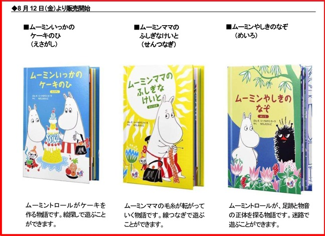 マクドナルドのハッピーセット、ムーミン絵本2016年8月12日から発売の3種類
