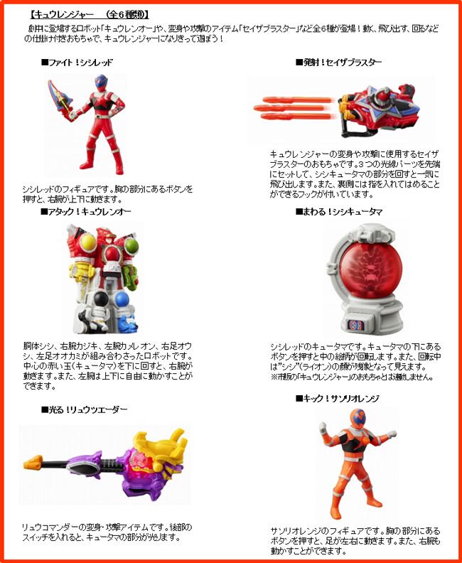 ハッピーセット、キュウレンジャー6種類おもちゃ2017年9月15日
