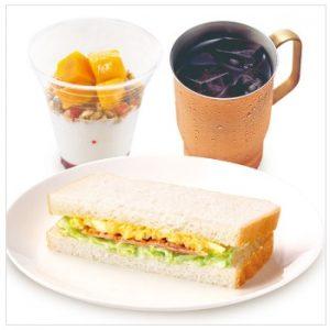 上島珈琲店モーニング「フルグラ®ヨーグルト&ハーフコールスローたまごサラダサンド」