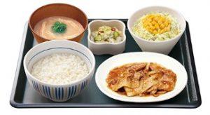 なか卯の夜定食「生姜焼き定食」