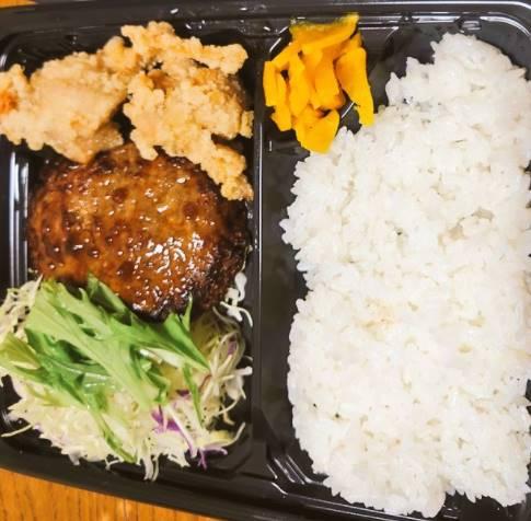 ジョイフルのテイクアウト「[水]ハンバーグ&唐揚げ弁当」イメージ