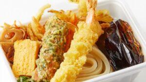 丸亀製麺「3種の天ぷらと定番おかずのうどん弁当」2021年9月